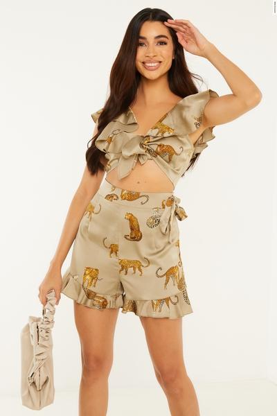 Khaki Satin Leopard Frill Shorts
